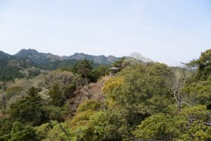 馬の背から遠望した俳句道の東屋(石山観音公園)