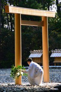 神御衣奉織始祭の準備(神服織機殿神社)