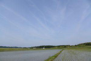 朽羅神社(皇大神宮 摂社)付近に描かれた多数のひこうき雲