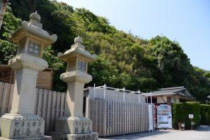 社務所建て替え工事中につき仮設の社務所(二見興玉神社)