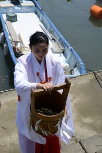 藻刈神事で刈り取られた『無垢塩草:アマモ』(江漁港)