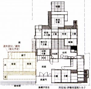 旧御師 丸岡宗大夫邸の平面図