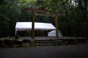 仮殿となった饗土橋姫神社(皇大神宮 所管社)