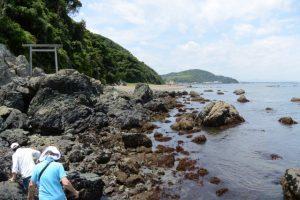 潜島を後にして鳥居へ(神前海岸)