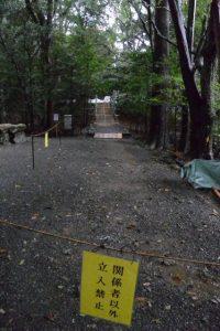 「関係者以外立入禁止」、大修繕が進められる津長神社(皇大神宮 摂社)への参道