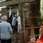 「河町天王祭」の準備が進めらる河邊七種神社の境内(伊勢市河崎)