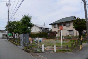 無量寺跡の公園(越坂寺町細図掲載)
