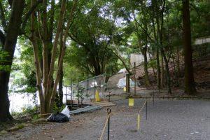 仮殿となっている饗土橋姫神社(皇大神宮 所管社)付近
