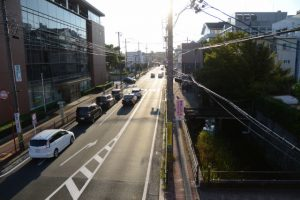 伊勢市岩渕1丁目歩道橋から望む豊川
