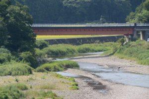 内城田大橋から望む一之瀬川に架かる飛瀬浦橋