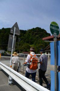 BUS STOP 内城田大橋 三重交通付近から望む山崎の大岩方向