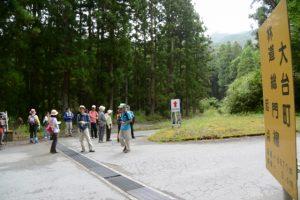 滝頭不動滝への分岐(大台町林道総門線起点付近)