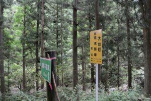 「滝頭不動滝 1.6km」の案内板(大台町林道滝頭線起点付近)