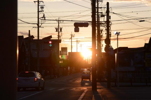 河崎交差点付近の夕景