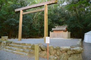 仮殿となっている饗土橋姫神社(皇大神宮 所管社)