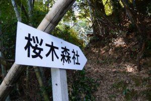 「桜木森社」案内板(送電線の鉄塔直下付近)