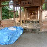 本殿の御垣が完成しお白石が戻された御敷地、坂社(伊勢市八日市場町)