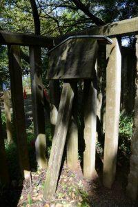 根元から折れ柵に立て掛けられていた「宇治山田陵墓参考地」の立札(倭姫命御陵)