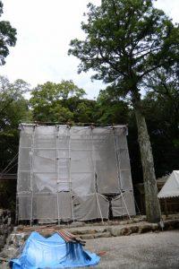 本殿が建ち上がっていた宇治神社(伊勢市宇治今在家町)