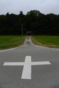 神麻続機殿神社(皇大神宮 所管社)へと続く田んぼ道