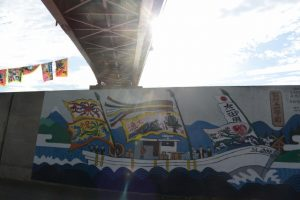 御幣鯛を奉納する太一御用船を迎える朝(伊勢市神社港)