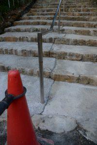 工事中の階段、宇治神社(伊勢市宇治今在家町)