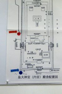 皇大神宮(内宮)に置かれている籾種石の位置