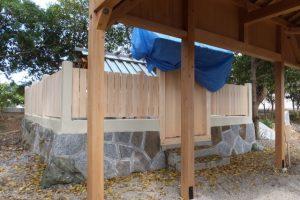 修繕はほぼ終了、牟山中臣神社(伊勢市田尻町)