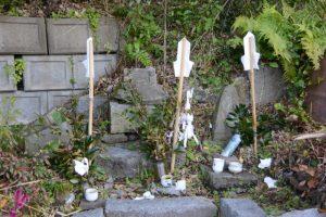 各所に祭られる水神さん(鹿児島県肝属郡東串良町)