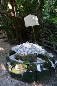真砂を供える波状岩(青島神社)