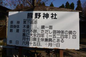 熊野神社の案内板(鹿児島県肝属郡東串良町川東)