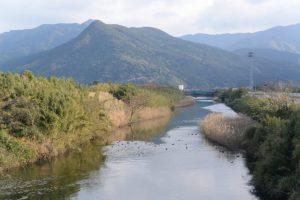 弁天橋から望む塩入川、権現山