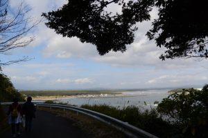 林道赤迫柳井谷線から望む東串良漁港