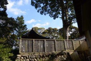 山神付近からの望む辰水神社の本殿
