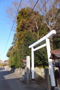 八柱神社の鳥居前から望む小俣神社の社叢入口