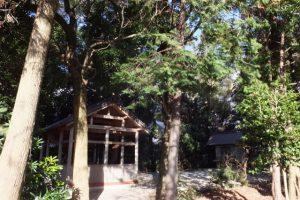隣の八柱神社から望む小俣神社に設置された覆屋