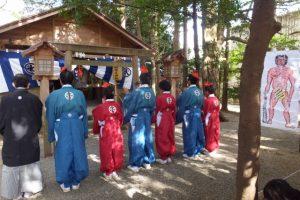 楠部町萬歳楽 代表、舞方、長老(櫲樟尾神社)