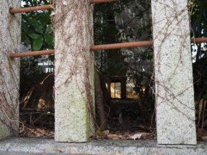歩道から望む本殿の修繕状況(須原大社)