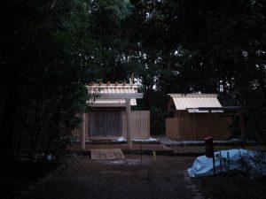 覆屋が取り外され大修繕を終えた殿舎が姿を現していた蚊野神社(皇大神宮 摂社)