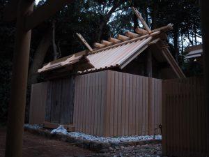 覆屋が取り外され大修繕を終えた殿舎、蚊野神社(皇大神宮 摂社)