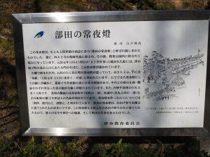 部田の常夜燈の説明板(津偕楽公園)