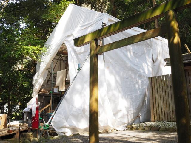 御造替が開始されていた江神社(皇大神宮 摂社)