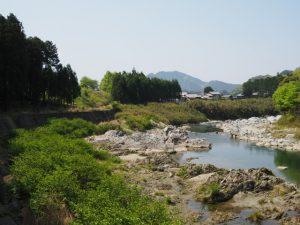 昔の水路跡(立梅用水)付近から望む櫛田川