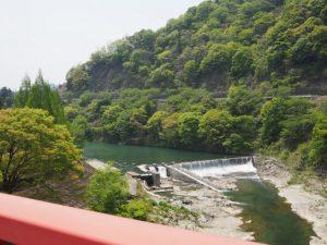 茶倉橋(櫛田川)から望む立梅用水の井堰