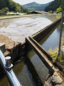 立梅用水(勢和中学校〜古江隧道入口)と溜池からの流れ