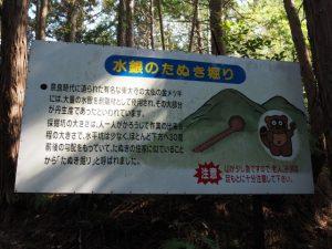 「水銀のたぬき堀り」の説明板