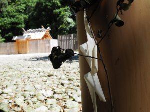 斎庭の鳥居に立てられた榊(神麻続機殿神社)