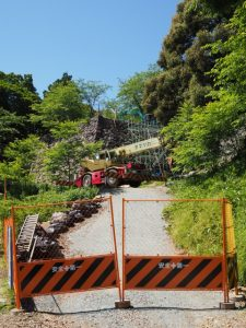 田丸城跡石垣の修復工事現場