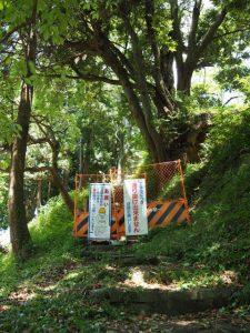 田丸城跡石垣の修復工事による搦手口側の通行止