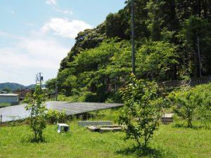 太陽光発電のパネルが広がる伊佐和神社付近(松阪市射和町)